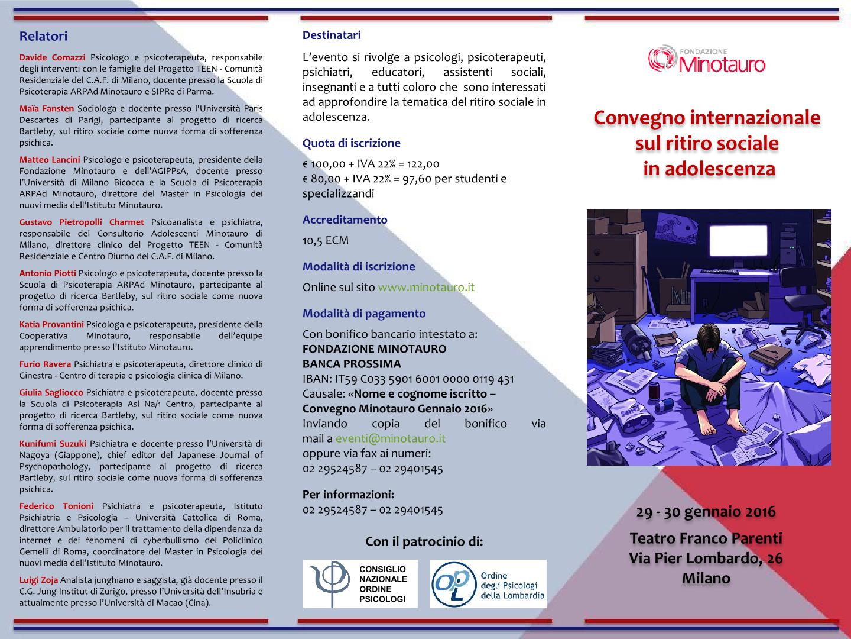 Convegno internazionale sul ritiro sociale in adolescenza - Gennaio 20161